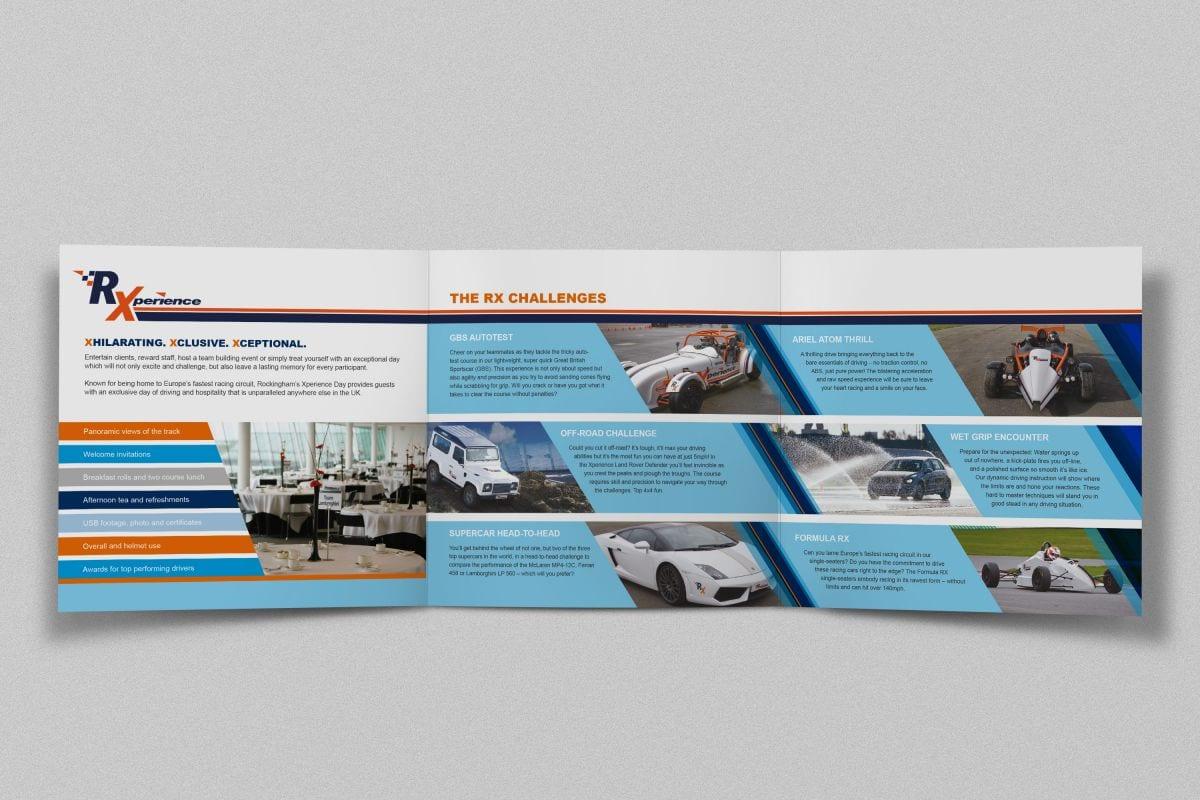 Roll-fold leaflet design for Rockingham Motor Speedway